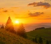 Autumn Sunrise. Warm Sunrays Above Autumn Mountains At Sunrise poster