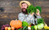 Man With Beard Proud Of His Harvest Wooden Background. Organic Fertilizers Make Harvest Healthy And  poster