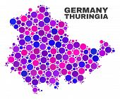Mosaic Thuringia Land Map Isolated On A White Background. Vector Geographic Abstraction In Pink And  poster