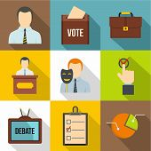 Political Icons Set. Flat Set Of 9 Political Icons For Web Isolated On White Background poster