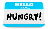 Hungry Need Eat Food Name Tag 3d Illustration poster