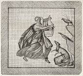 Mosaic found in Aix-en-Provence old illustration. After mosaic kept in Aix museum, published on Magasin Pittoresque, Paris, 1845