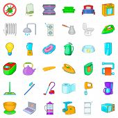 Appliance Icons Set. Cartoon Style Of 36 Appliance Icons For Web Isolated On White Background poster
