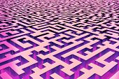 Three-dimensional Infinite Maze In Red And Purple, Lit From The Inside. Perspective View Of The Maze poster