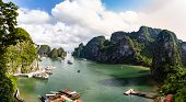 Halong Bay, Vietnam, Panorama Of The Bay In Front Of Hang Sung Sot Grottoes. Unesco World Heritage S poster