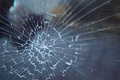 Broken Glass. Criminal Incident At The Bus Stop. Hole And Cracks In The Glass Of A City Bus Stop. Cr poster