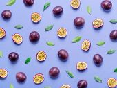 Passion fruit background. Set of passion fruits. Top view. poster
