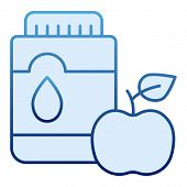 Mouthwash With Apple Flat Icon. Mouth Antiseptic Blue Icons In Trendy Flat Style. Dental Care Gradie poster