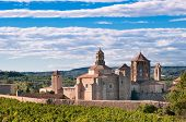 Poblet monastery on summer day, Spain