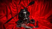 Close Up Bdsm Outfit. Bondage, Kinky Adult Sex Games, Kink And Bdsm Lifestyle Concept With Gas Mask, poster