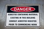 An Asbestos Warning Sign Highlighting The Dangers Of Asbestos Containing Materials. poster