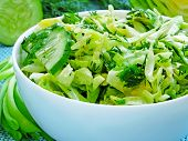 Fresh Salad With Young Cabbage, Green Onions, Dill And Cucumber. Spring Green Salad From Fresh Green poster