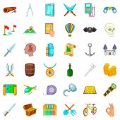 Adventure Icons Set. Cartoon Style Of 36 Adventure Icons For Web Isolated On White Background poster