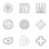 Eco Sliced Vegetables Icon Set. Outline Set Of 9 Eco Sliced Vegetables Icons For Web Isolated On Whi poster