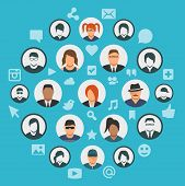 Conceptual Illustration Of Social Media Cloud With People Avatars And Social Network Icons poster