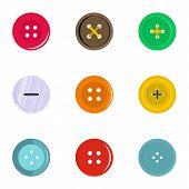 Circular Clothes Button Icon Set. Flat Set Of 9 Circular Clothes Button Icons For Web Isolated On Wh poster