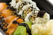 Close Up Picture Of A Sushi Take-Away Meal