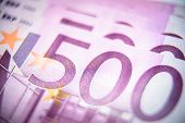 500 Euro Money Banknotes Close-up. Five Hundred Notes Of European Union Currency. Macro View Of Euro poster
