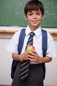 Portrait of a schoolboy holding an apple in a classroom