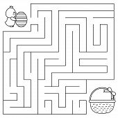 Easter Maze Game For Preschool Kids. Coloring Page. Help The Chick With Egg Find Right Way To The Ba poster