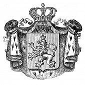 das alte Wappen Bulgariens. Stich von Alwin Zschiesche veröffentlicht am