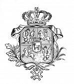 das alte Wappen Portugals. Stich von Alwin Zschiesche veröffentlicht am