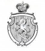 das alte Wappen Finnlands. Stich von Alwin Zschiesche veröffentlicht am