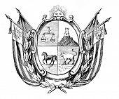 das alte Wappen der Republik östlich des Uruguay. Stich von Alwin Zschiesche veröffentlicht am