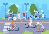 Flat Internet Urban Street. City Wifi People Walking In Park Town Landscape Girl And Boy Lifestyle.  poster