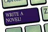 Conceptual Hand Writing Showing Write A Novel. Business Photo Showcasing Be Creative Writing Some Li poster