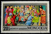 MONGOLIA - CIRCA 1973: A postage stamp printed in the Mongolia shows image of the scenes of a life o