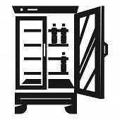 Beverage Fridge Icon. Simple Illustration Of Beverage Fridge Icon For Web Design Isolated On White B poster