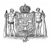 das alte Wappen Dänemarks. Stich von Alwin Zschiesche veröffentlicht am