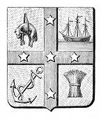 Das alte Wappen von South Australia. Stich von Alwin Zschiesche veröffentlicht am