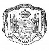 das alte Wappen von Sandwich-Inseln. Stich von Alwin Zschiesche veröffentlicht am