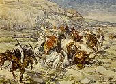 Cavalry Attack. Illustration by artist A.Apnist from book