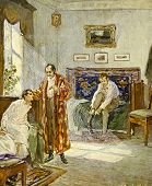 Morning in the house of noble family. Illustration by artist A.Apnist from book