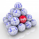 A pyramid of balls representing lies with one different ball hidden within it marked Truth.  Hard to