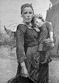 Esposa do pescador. Gravura em aço por Bod do retrato do pintor Deyrol. Publicado na revista