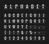 Flip Font. Airport Flight Board Info Panel Departure Destination Aircraft Airline Alphabet Arrive Te poster
