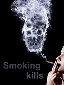woman smoking a cigarette. Of smoke formed skull dead, as a symbol of the dangers of smoking to hea