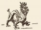 Hand drawn chinese dragon Vector