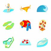 Sinking Icons Set. Cartoon Set Of 9 Sinking Icons For Web Isolated On White Background poster