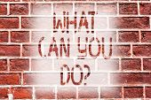 Handwriting Text Writing What Can You Doquestion. Concept Meaning Service Determination Purpose Wort poster