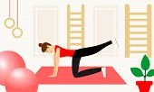 Young Fitness Sporty Girl Doing Exercises During Training Workout, Stretching In A Fitness Studio. B poster