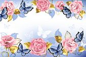 Pink Roses With Blue Butterflies With Golden Leaves On A Light Blue Background.  Design With Roses.  poster