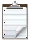 Clipboard School Ruled Notebook Paper Corner Page Curl