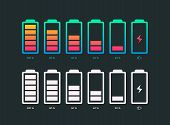 Set Of Battery Vector Symbol Different Level Of Charge For Ui Energy Symbol Mobile Phone, Battery Ch poster