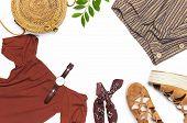 Stylish Trendy Feminine Summer Clothing Skirt Jacket Suede Sandals Round Rattan Bag Shawl Wrist Watc poster