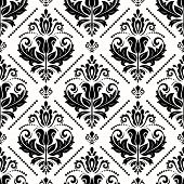 Classic Seamless Vector Pattern. Damask Orient Ornament. Classic Vintage Background. Orient Black An poster